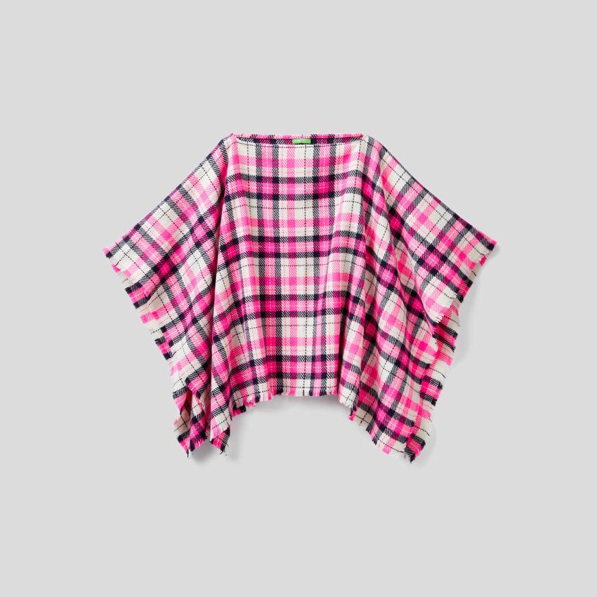 Tartan pattern poncho