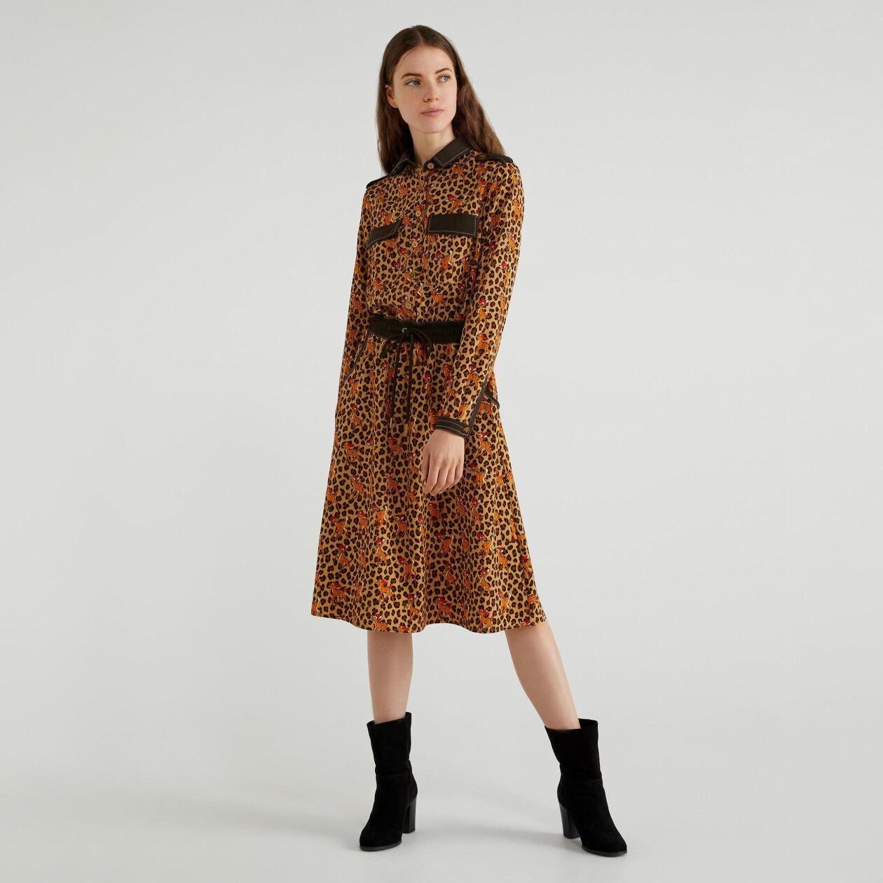 "Spotted ""Bambi"" print shirt dress"