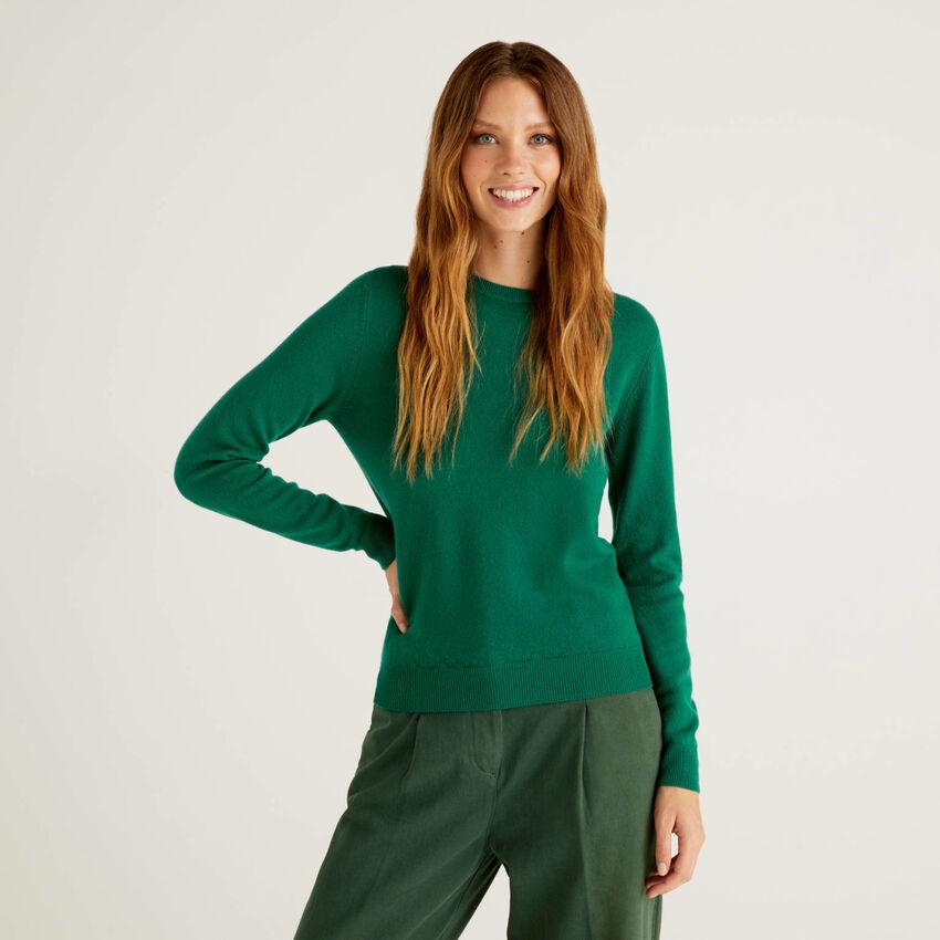 Dark green crew neck sweater in pure virgin wool