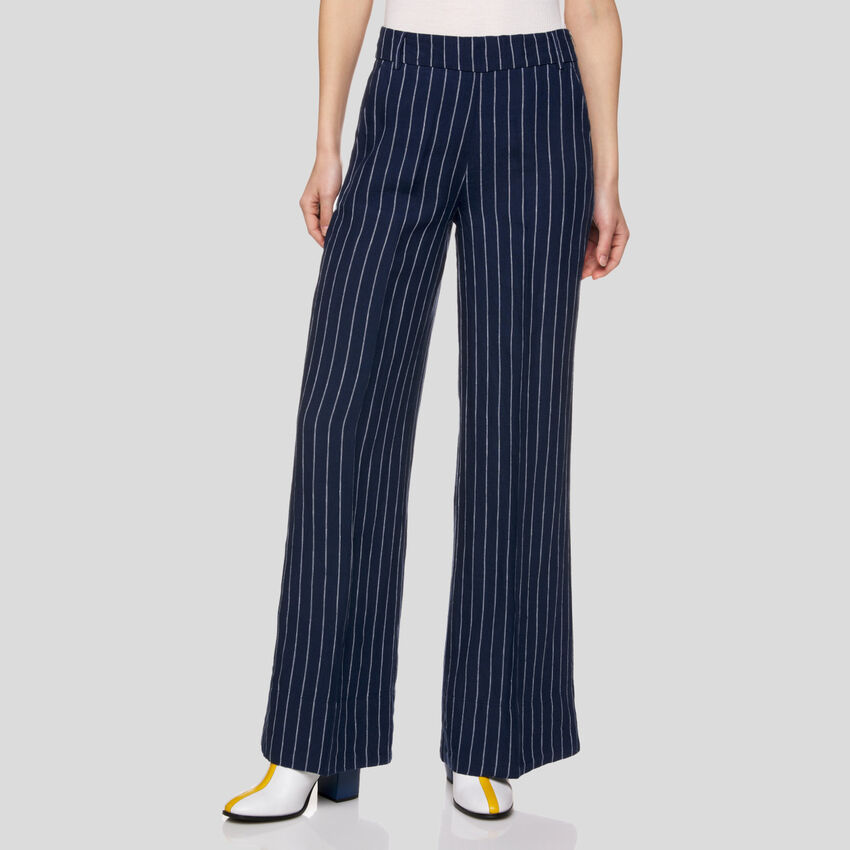 Striped pants in pure linen