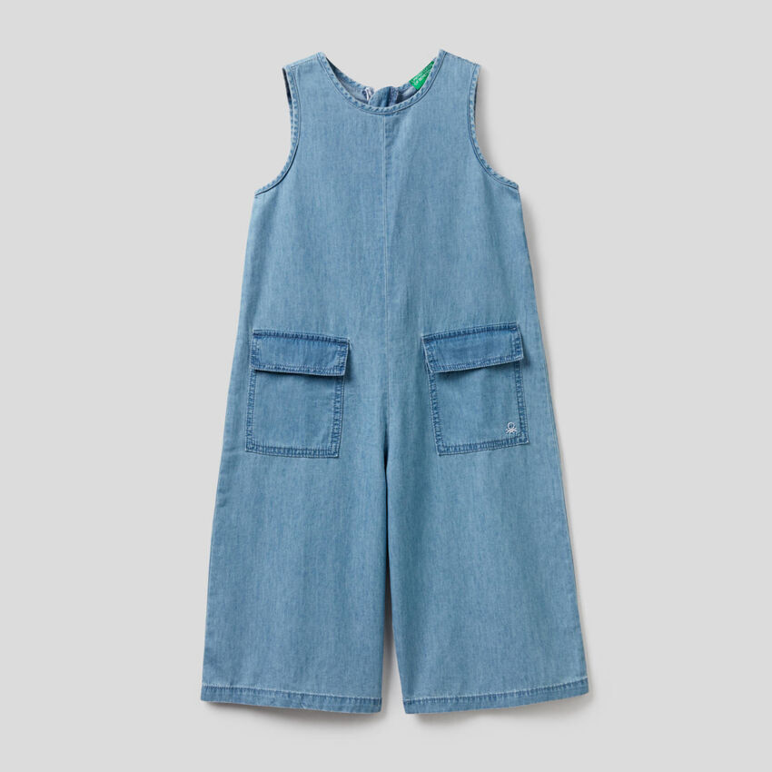 One-piece jumpsuit in 100% cotton