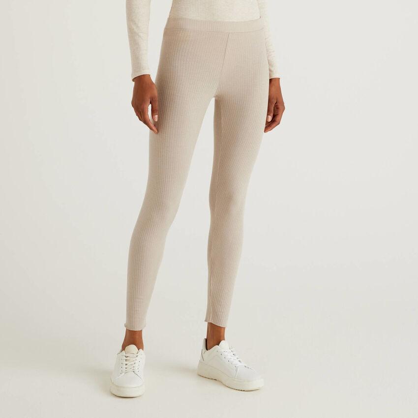 Stretch leggings in cashmere blend