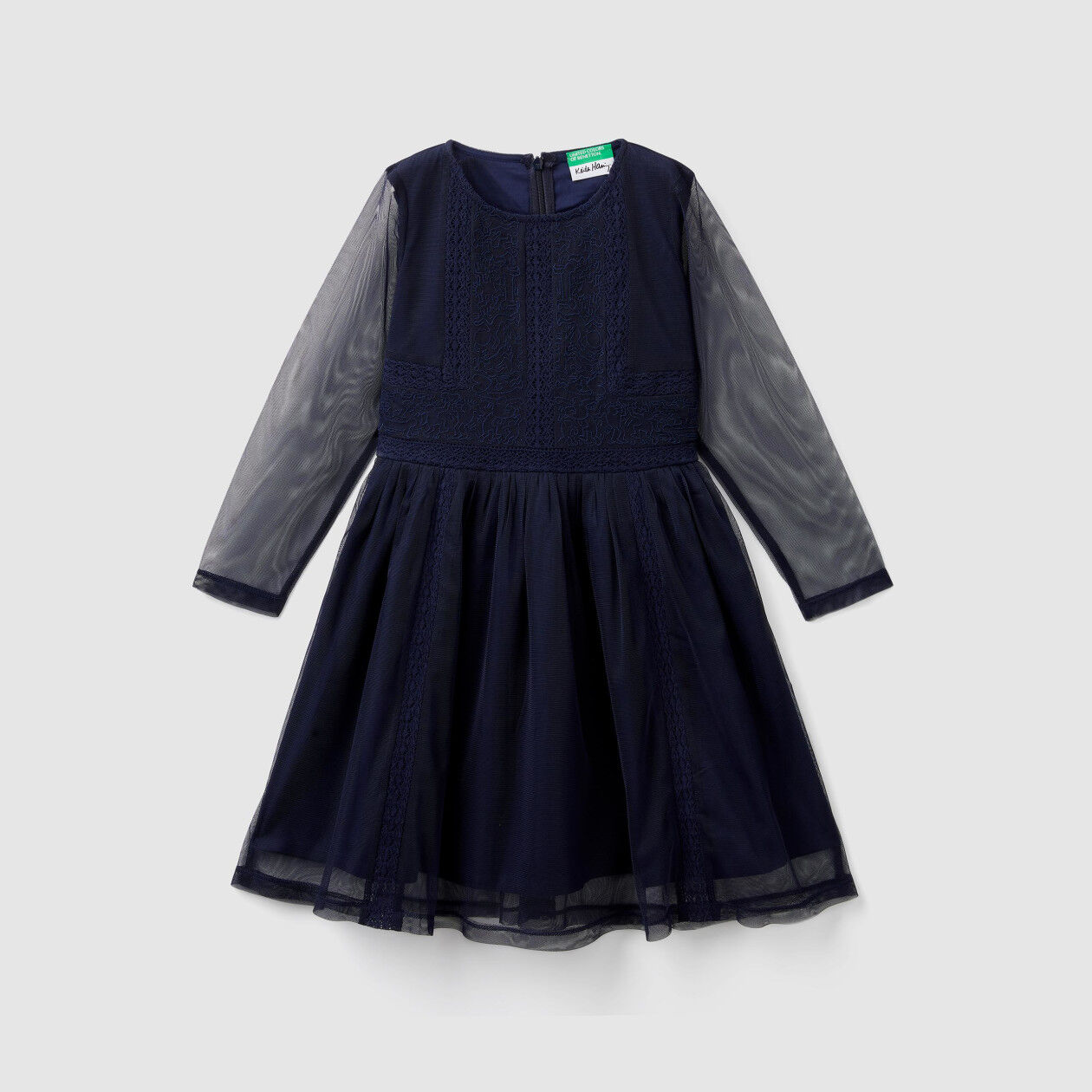 """Dress with lace and """"Keith Haring"""" embroidery"""