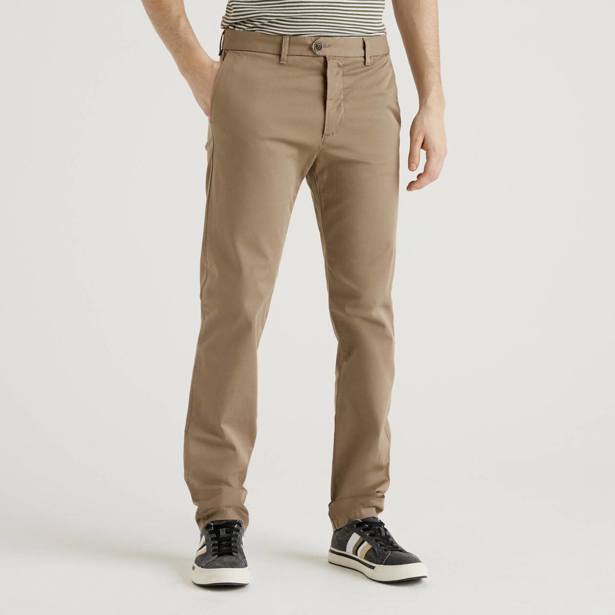 Dove gray slim fit stretch chinos