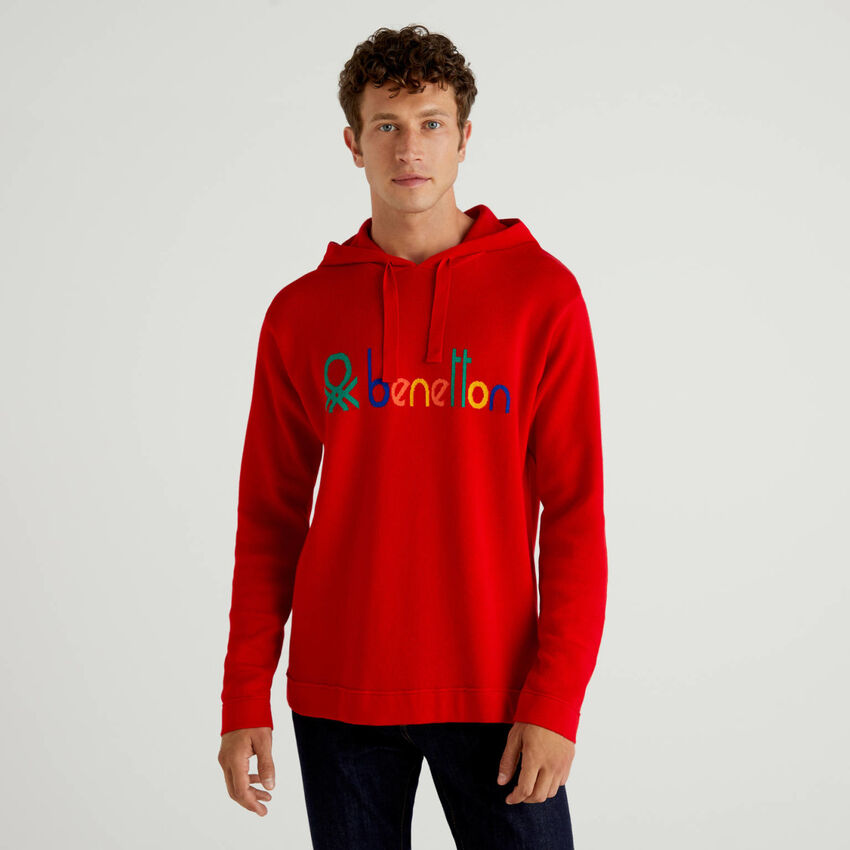 Red 100% cotton sweater with hood