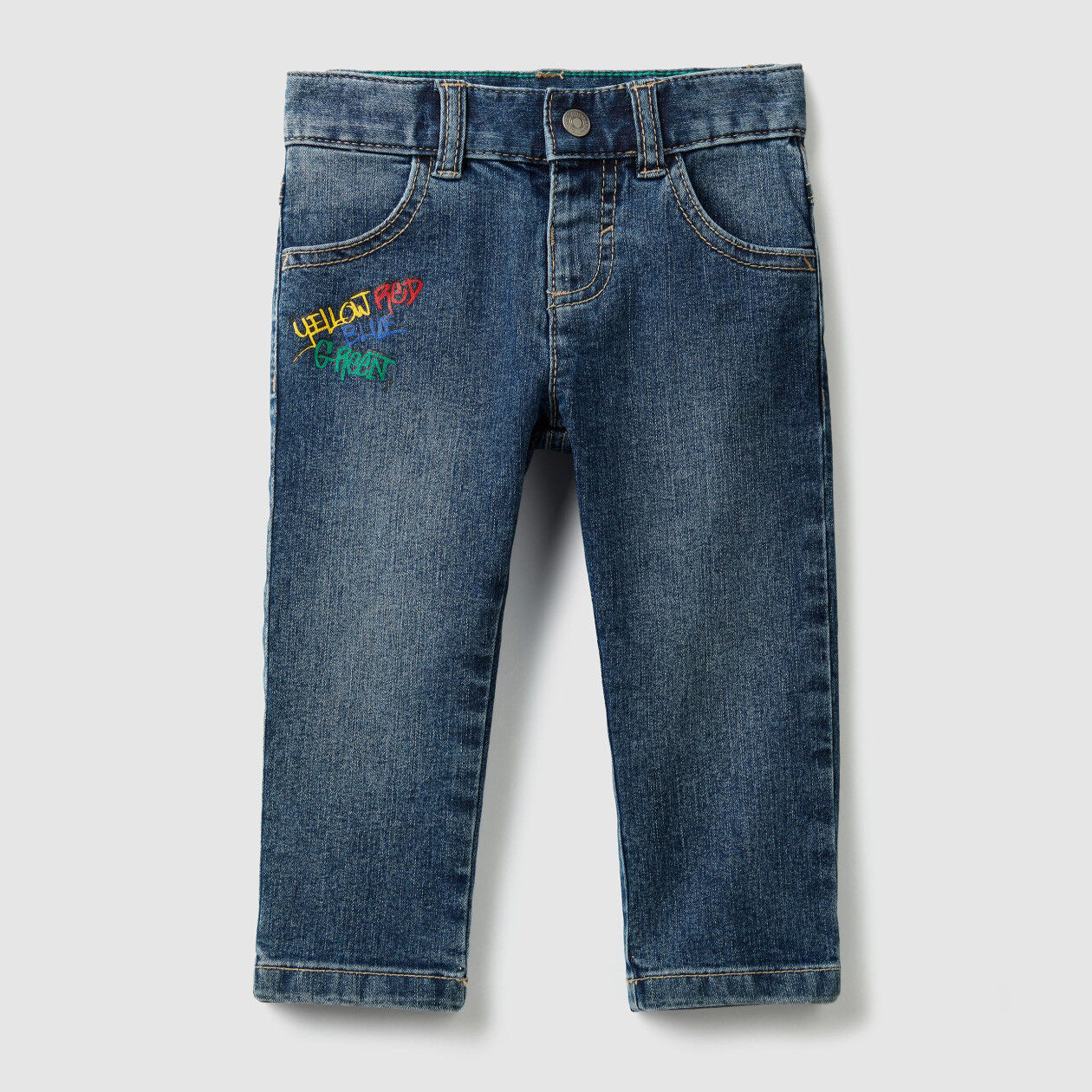 Jeans with print and embroidery