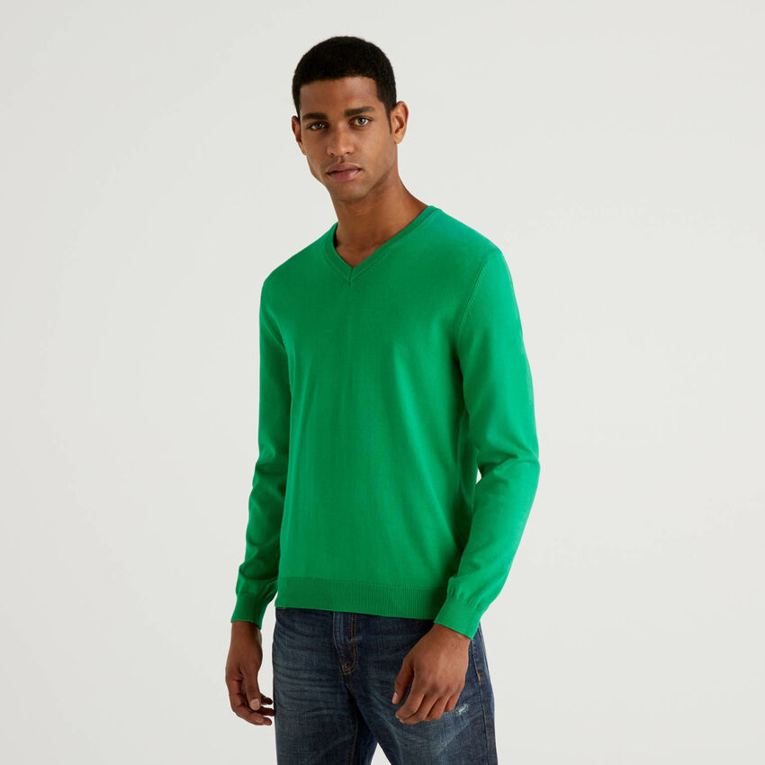 Pure cotton sweater with V-neck