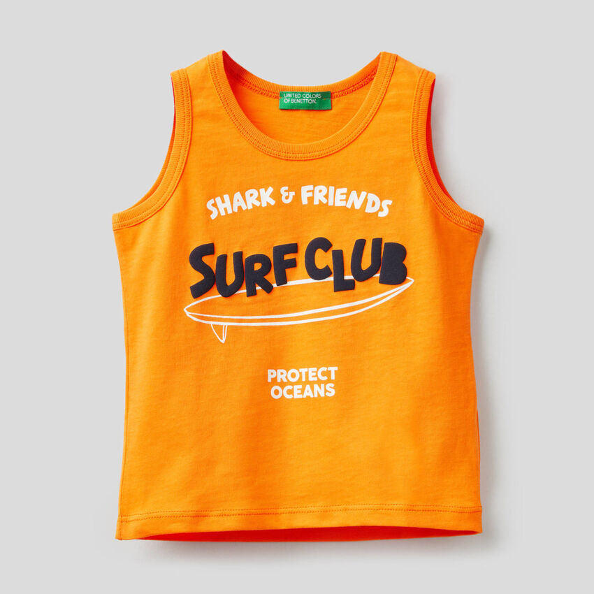 Tank top in pure cotton with print
