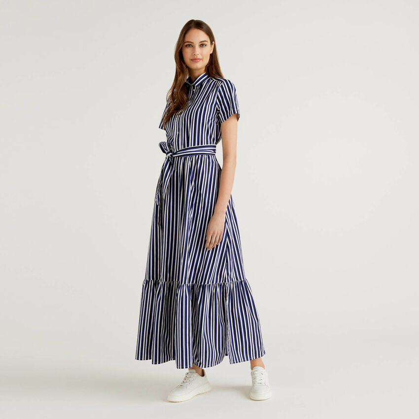 Striped long dress with frill at the bottom