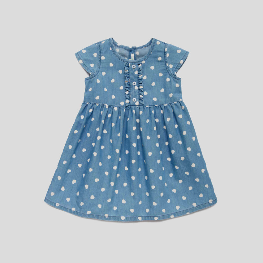 Dress with allover print hearts