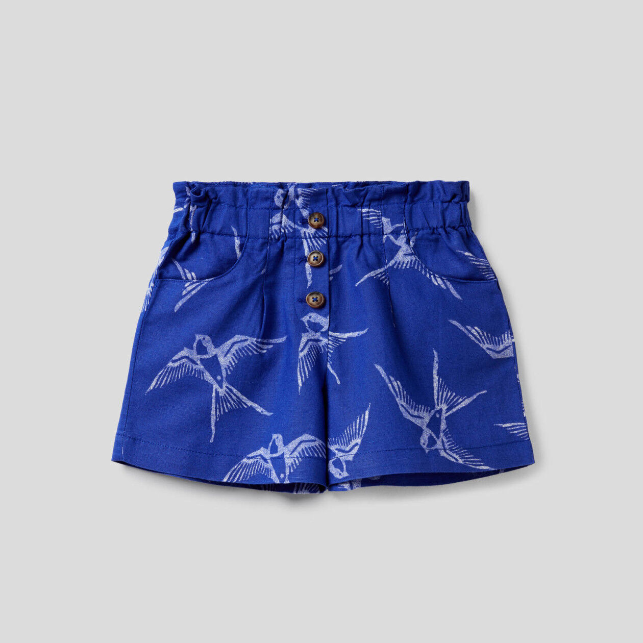 Printed shorts in cotton linen blend