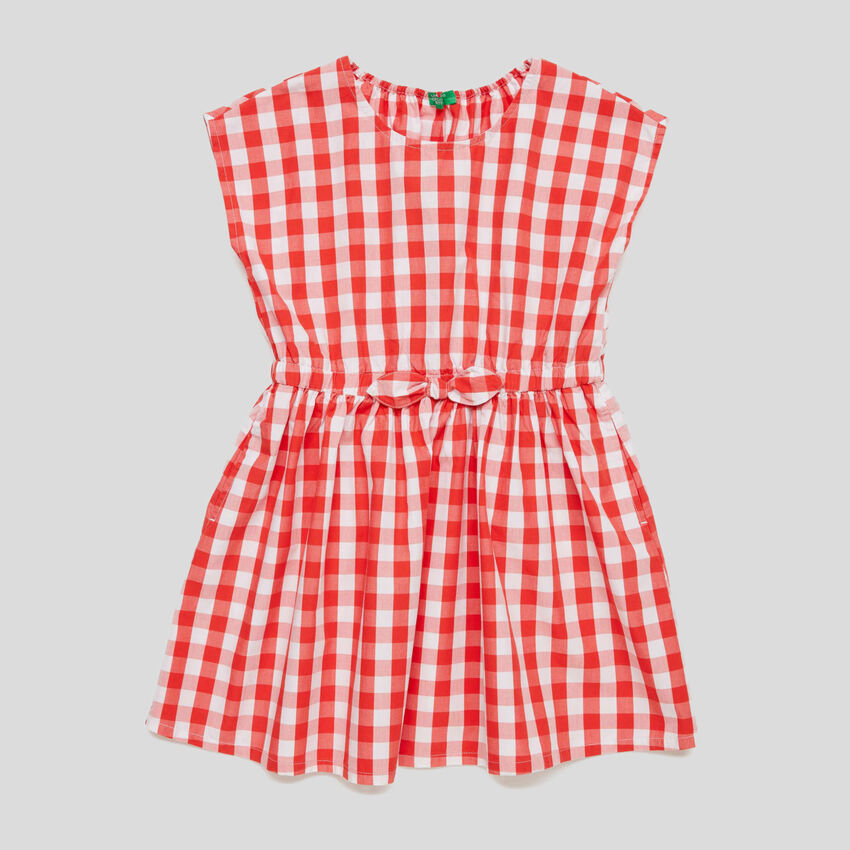 Check dress with bow