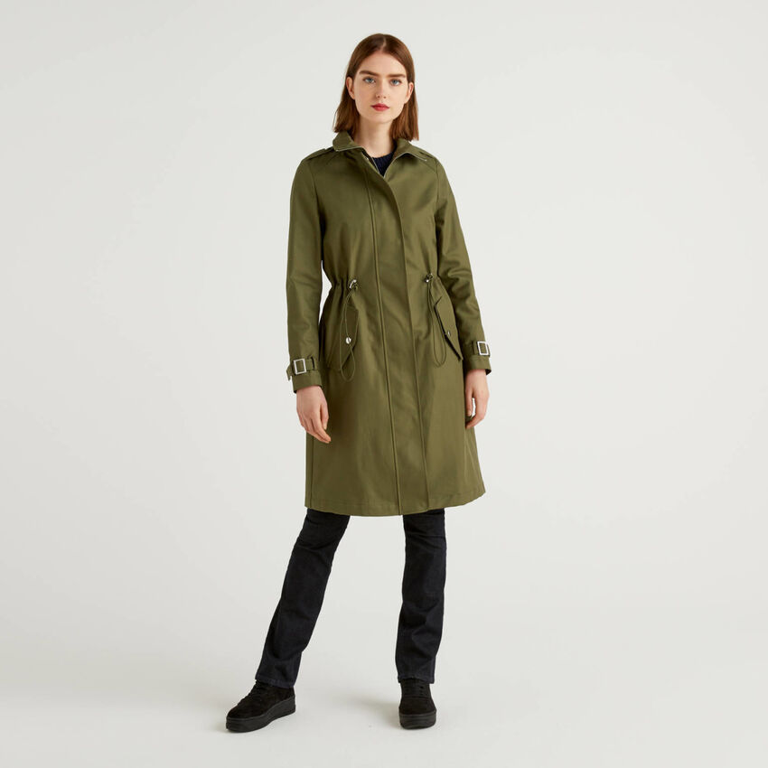 Duster coat with drawstring