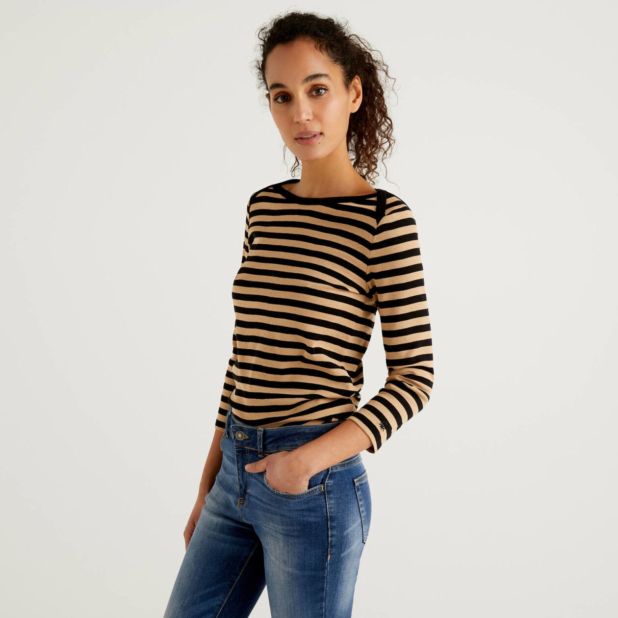 Striped 3/4 sleeve t-shirt in pure cotton