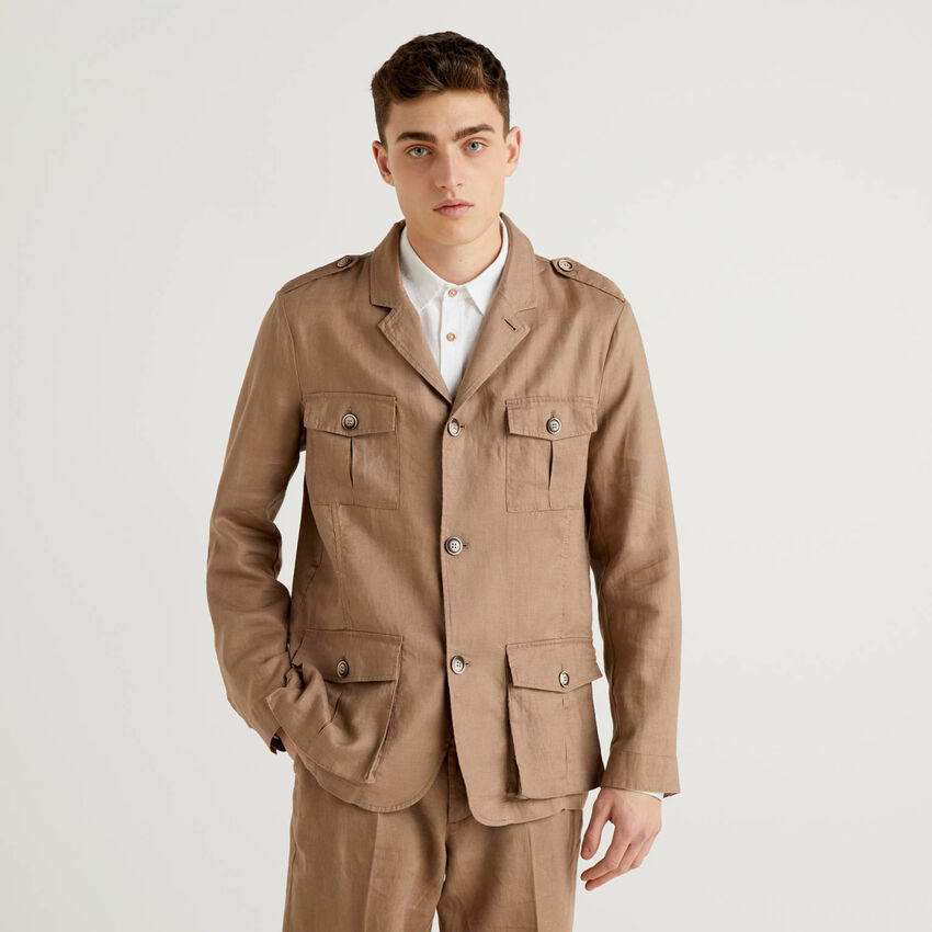 Pure linen jacket with pockets