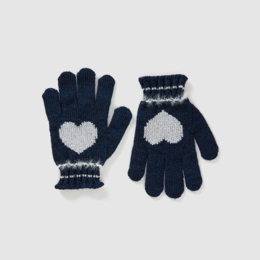 Gloves in wool and viscose