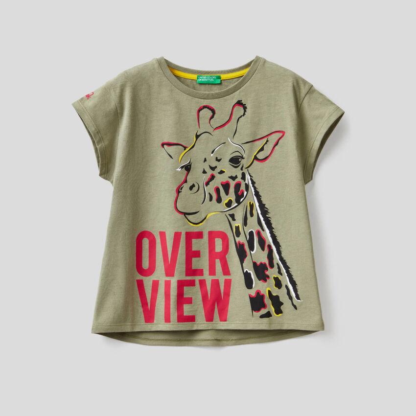 Military green t-shirt with giraffe print