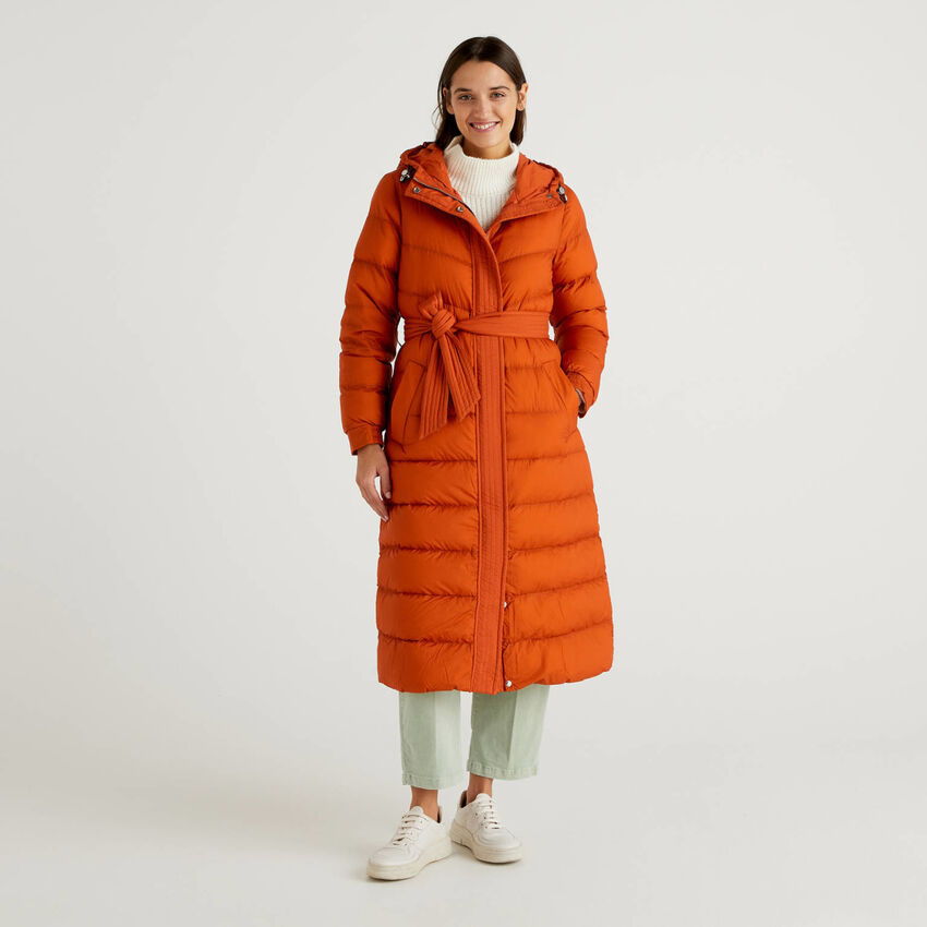 Longline padded jacket with hood