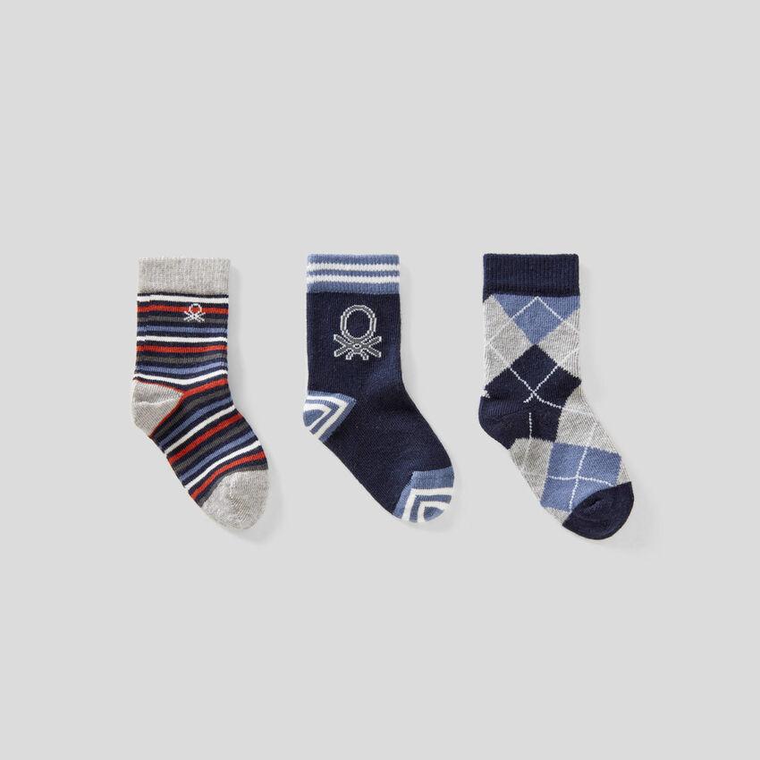 Sock set in blue tones