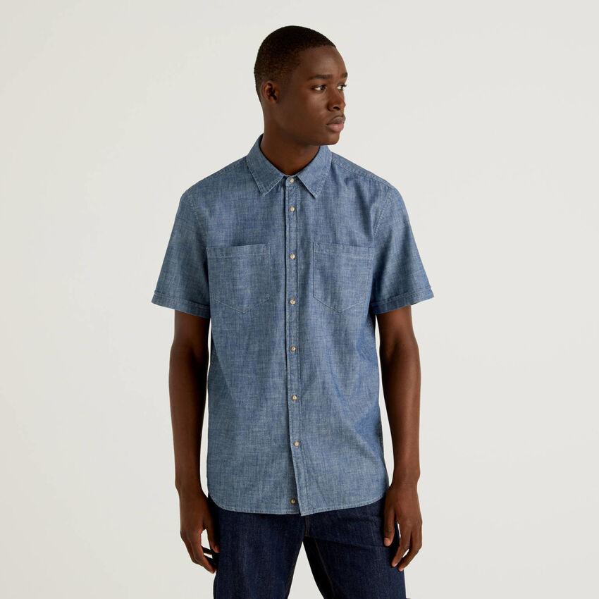 Short sleeve jean look shirt