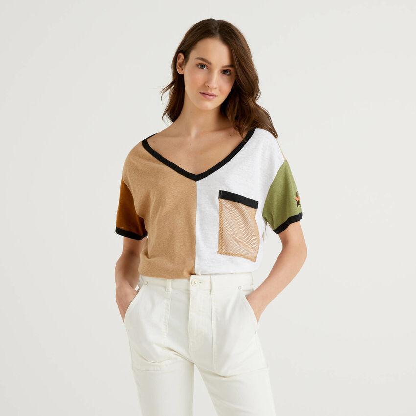 Color block t-shirt in linen blend cotton