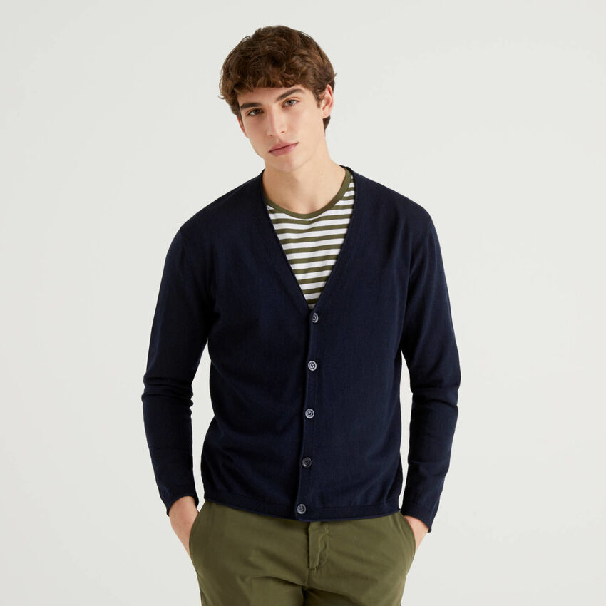 Cotton cardigan with V-neck
