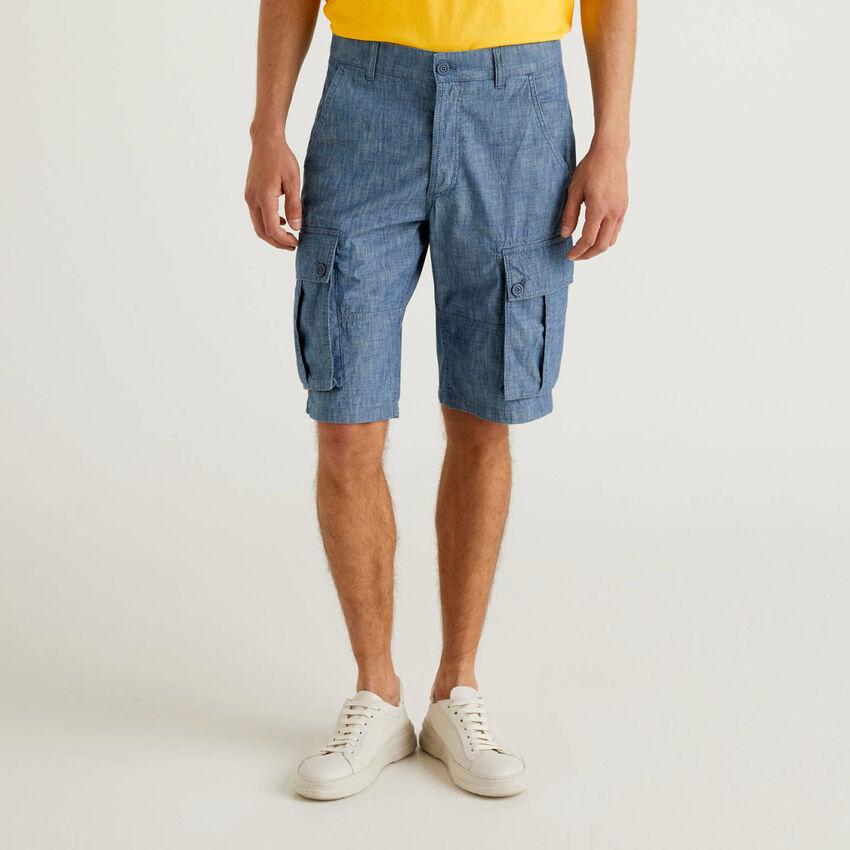 Jean-look cargo bermudas