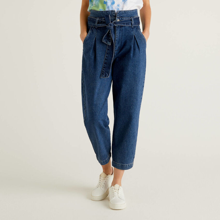 Paperbag jeans in 100% cotton