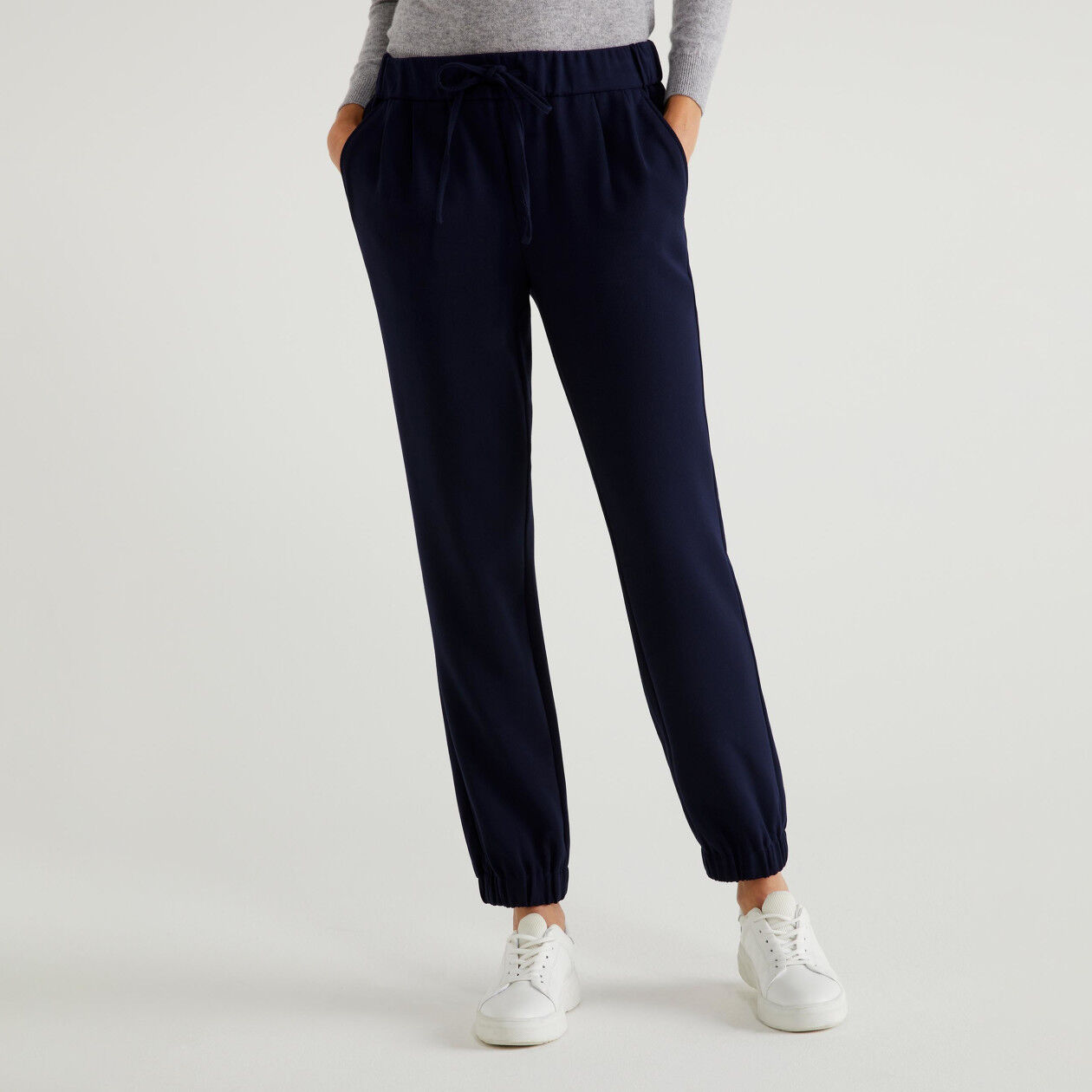 Pants with elastic at the bottom