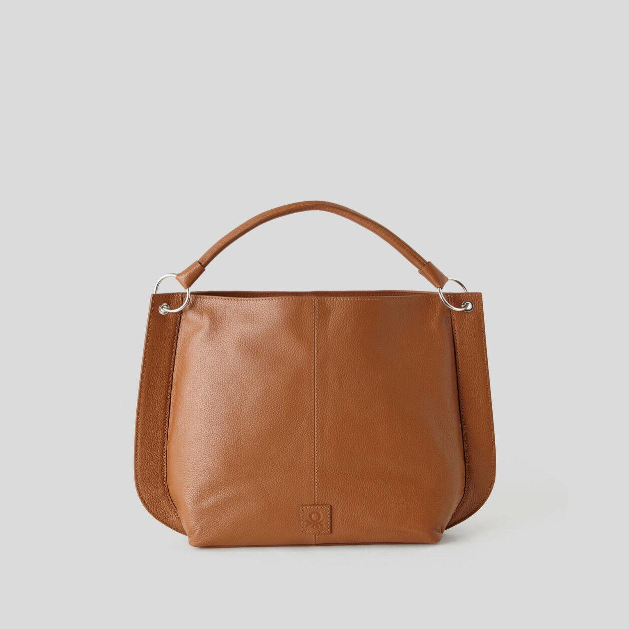 Hobo bag in genuine leather
