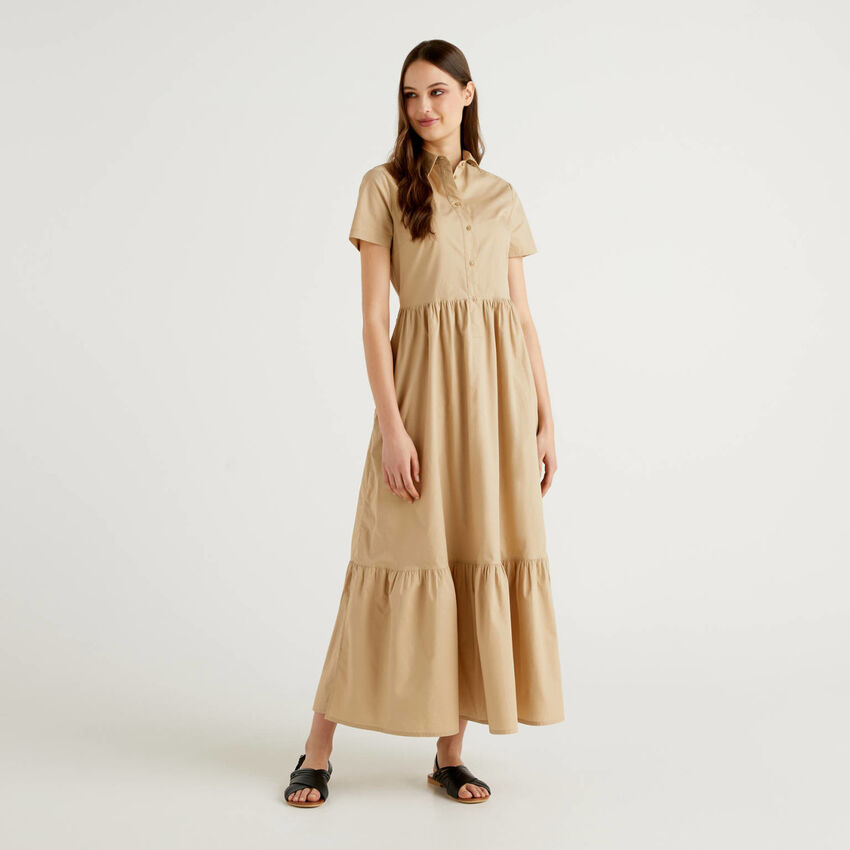 Long dress with frill at the bottom.
