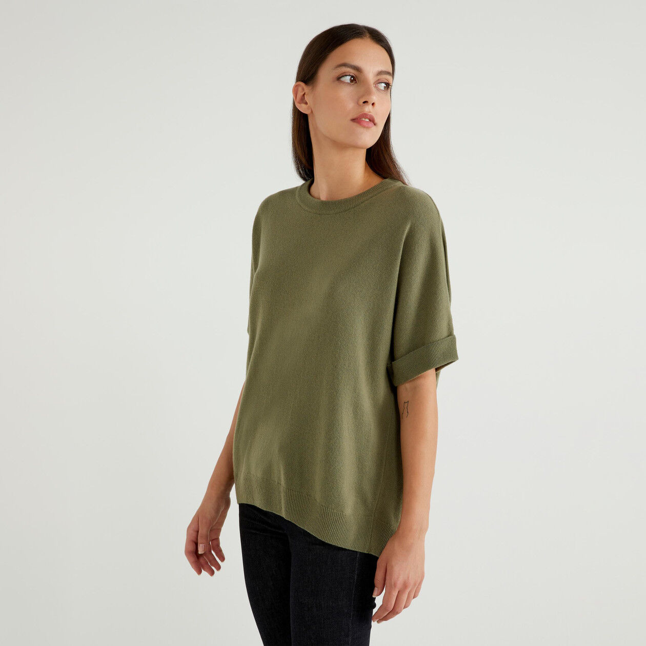 Short sleeve sweater in wool blend
