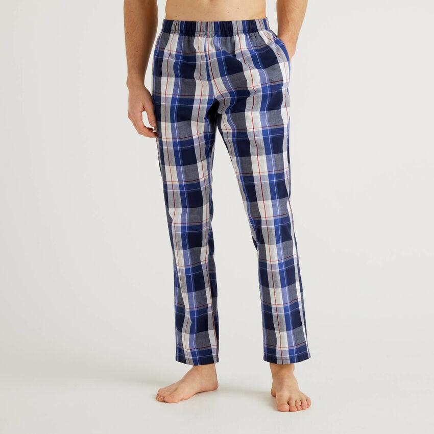 Check cotton trousers