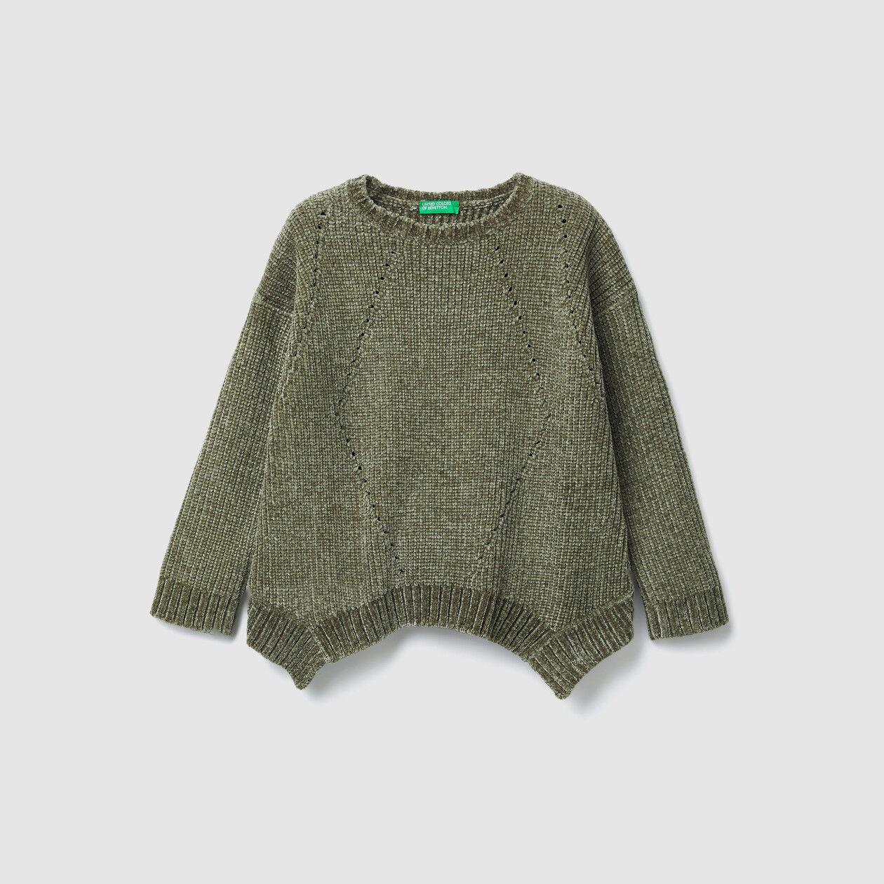 Uneven chenille sweater