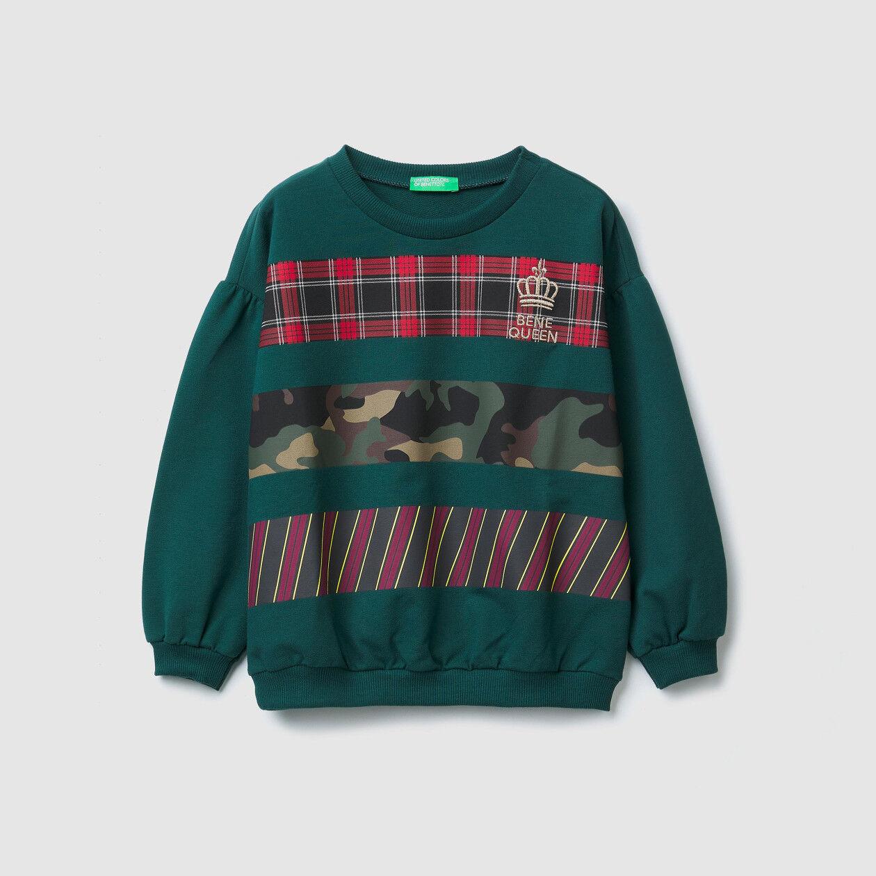 Sweatshirt with printed inserts