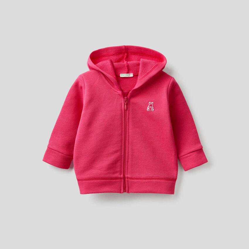 Sweatshirt with hood in organic cotton