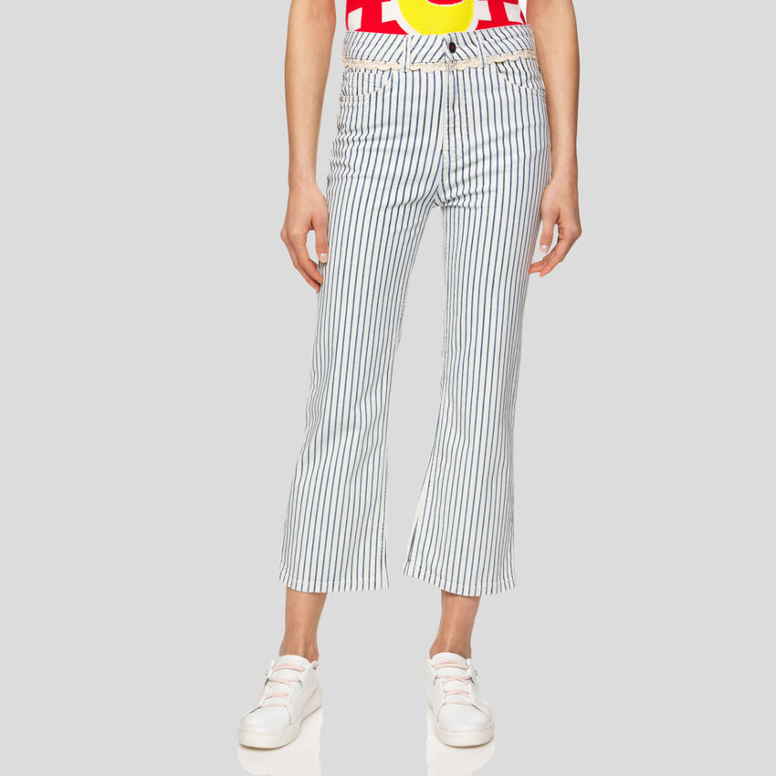 Cropped striped jeans