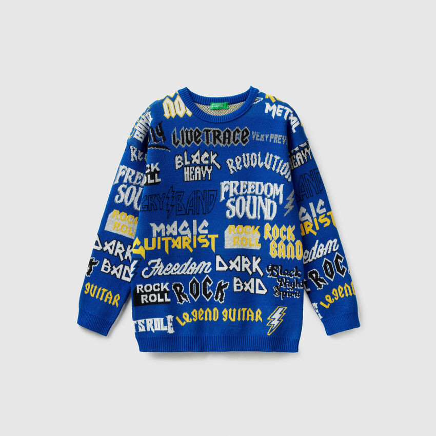 Cotton sweater with graphics