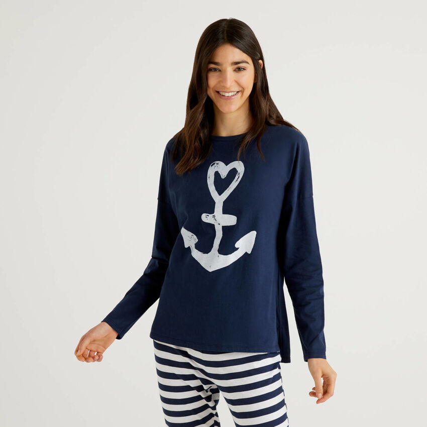 Sweater in warm cotton with print