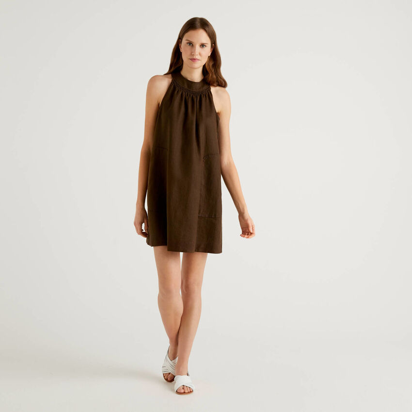Cropped dress in 100% linen