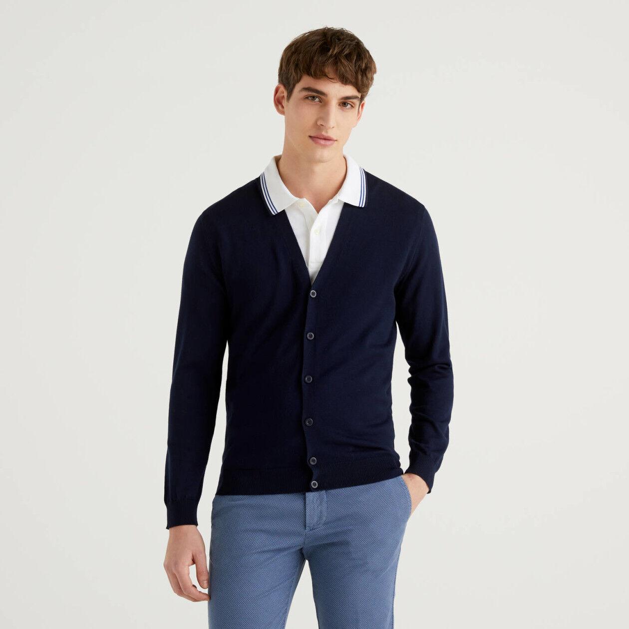 100% cotton V-neck cardigan