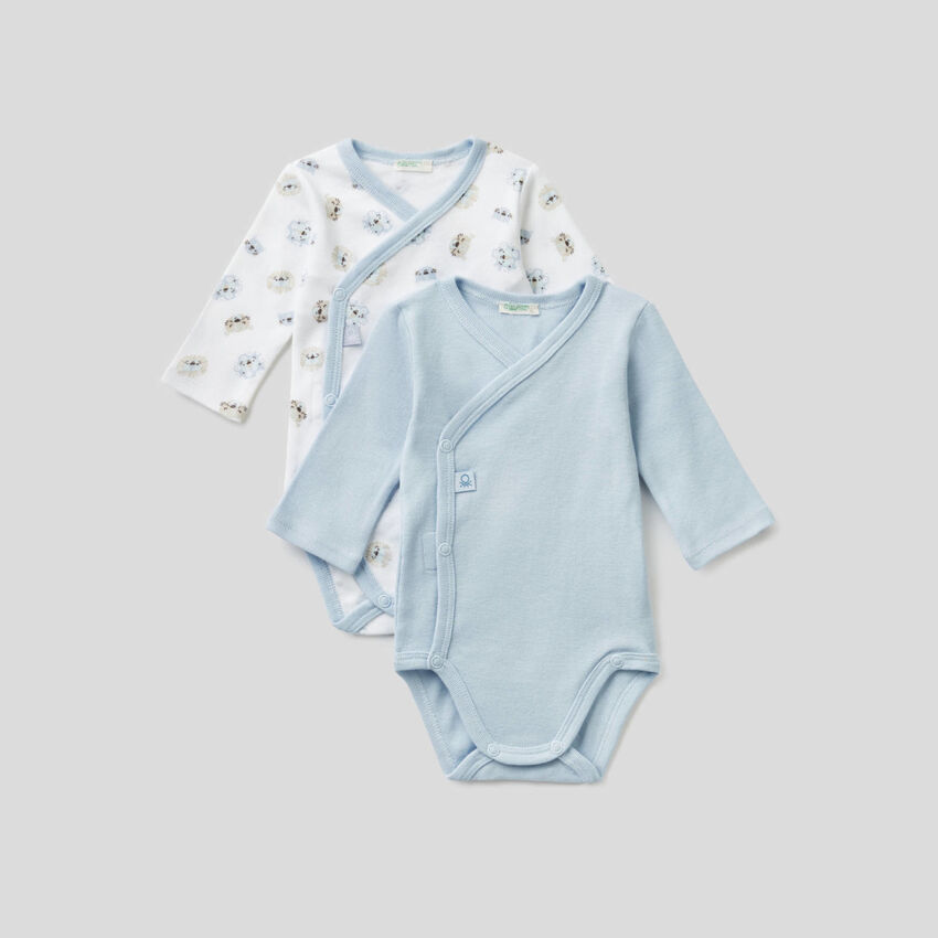 Two long sleeve bodysuits in organic cotton