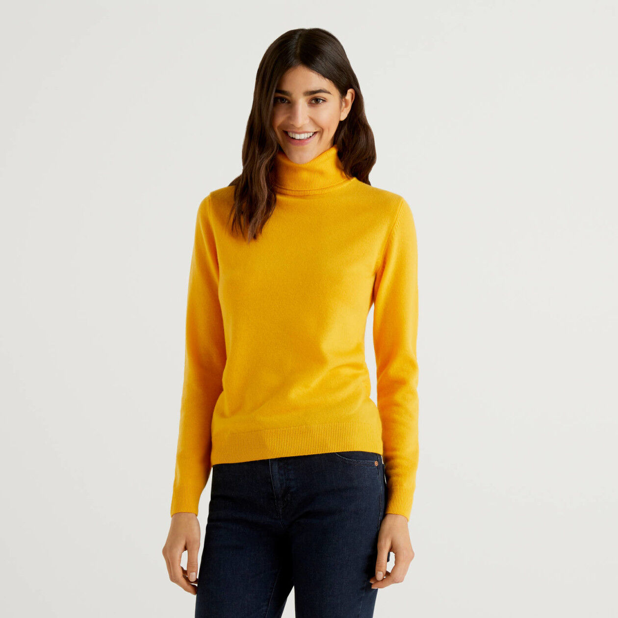 Yellow turtleneck sweater in pure virgin wool
