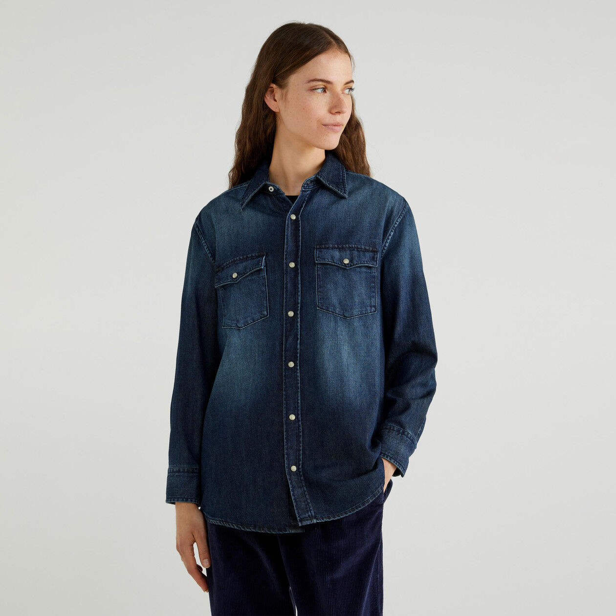 Vintage effect denim shirt