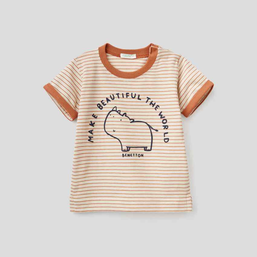 Striped t-shirt in pure organic cotton