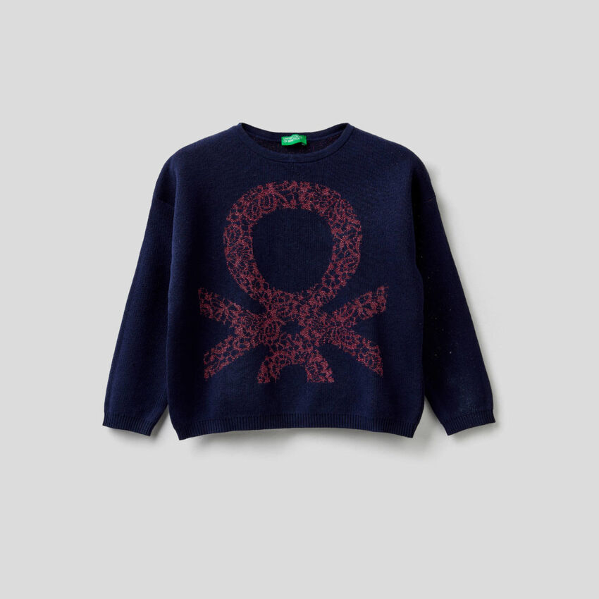 Boxy sweater with inlay
