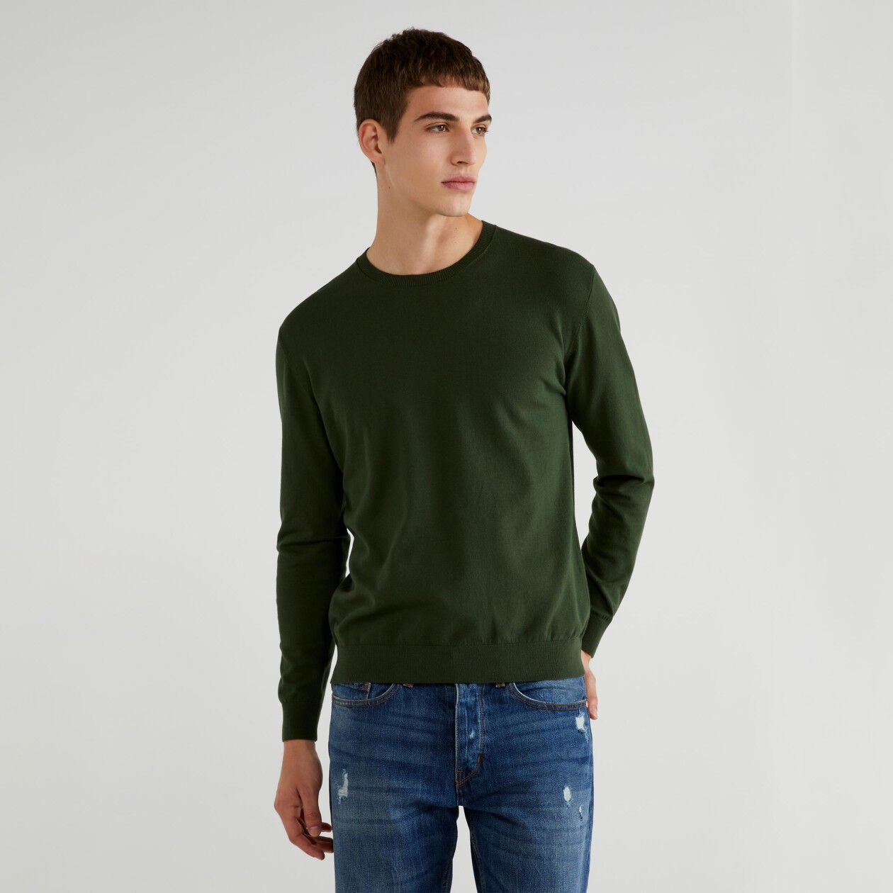 Crew neck sweater in tricot cotton