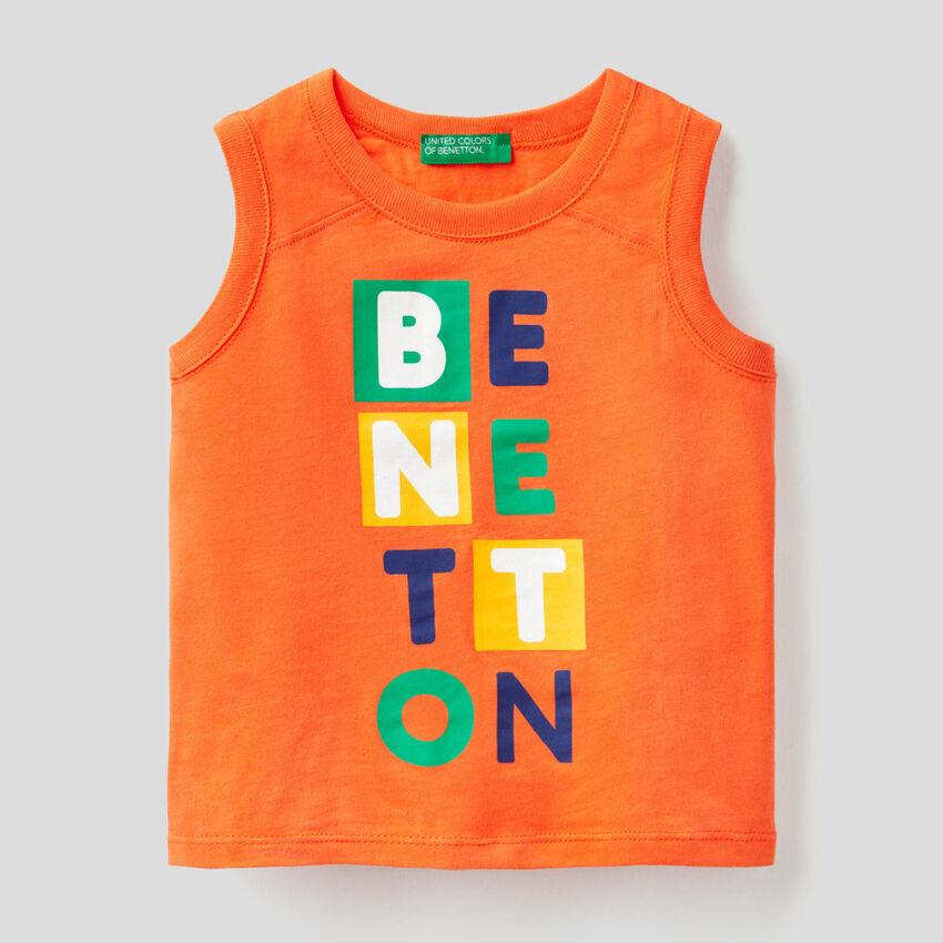 Orange tank top with print