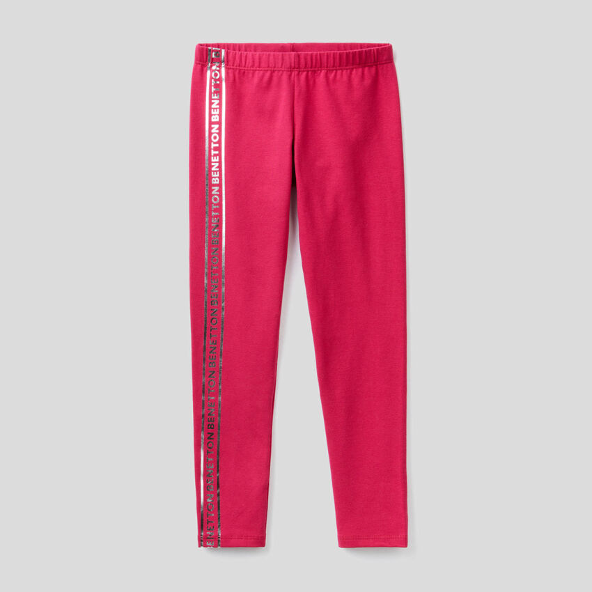 Cyclamen leggings in stretch cotton