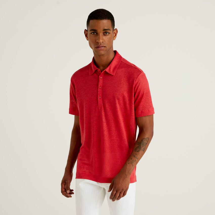 Short sleeve polo in pure linen